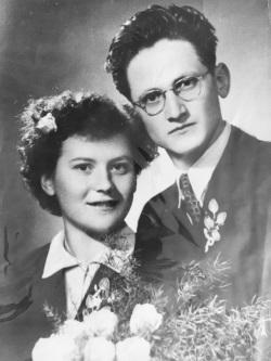 Stan and Mimi Ugovsek on their wedding day in the Austrian Detention camp near Salzburg. Dec 1, 1956
